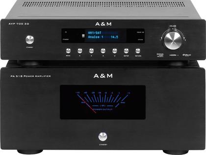 процессор-предусилитель A&M AVP700 3D и 5-канальный усилитель мощности A&M PA518
